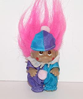 Troll Doll in Clown Suit with Pink Hair Brown Eyes by Norfin Dam 3.25