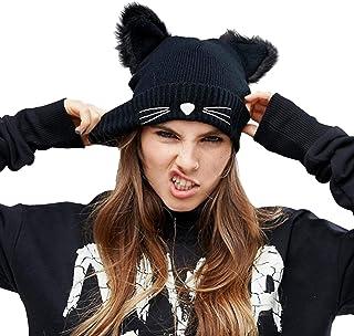 NW 1776 CC Hats for Women,Winter Hats for Women,Cat Hat Knit Hats for Women (Black)