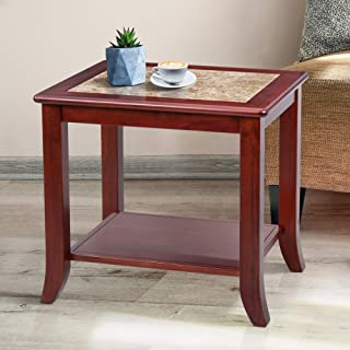 Olee Sleep Crema Cappuccino Natural Marble Top End Table/Solid Wood Edge, Brown