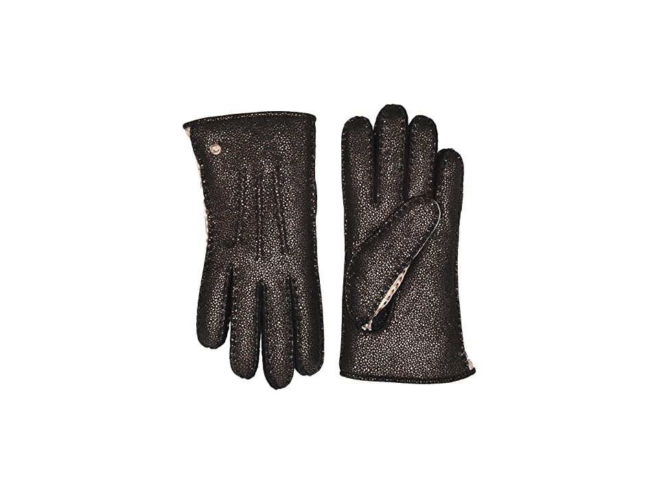 UGG Leather and Water Resistant Sheepskin Mixed Gloves (Metallic Black) Extreme Cold Weather Gloves