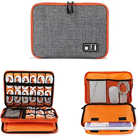 Euxial Travel Gadget Organizer Case Portable Zippered Pouch For All Small Gadgets Tablet, iPad Mini, Charger, Power Bank, Earphones, Memory Card, USB Data Cable, Camera Accessories Pen Drive etc