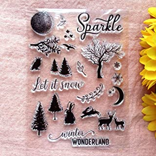 GAWEI Clear Stamps for Scrapbooking and Card Making Words Sparkle Let It Snow Christmas Tree Transparent Stamps Silicone S...