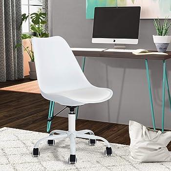 Chaise de Bureau Plastique PP PU Métal Hauteur Réglable