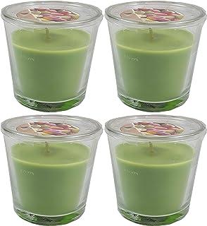 4x Ikea Vela perfumada en vaso manzanapera verde verde Un aroma afrutado de manzana crujiente y pera dulce.
