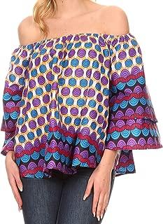 Omari Off-Shoulder Bell Sleeve Blouse Top Relax Fit Ankara African Wax