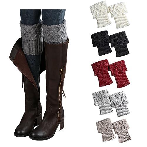 4445316ba0 Bestjybt Womens Short Boots Socks Crochet Knitted Boot Cuffs Leg Warmers  Socks