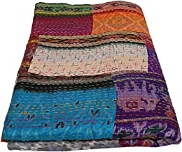Indian King Silk Patola Patchwork Kantha Quilt Bedspreads Throw Blanket Multi Color Bohemian Bedspread Bohemian Bedding Ha...