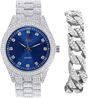 Men's Blinged Out Silver Analog Watch with Sapphire Dial with Iced Out Cuban Bracelet Gift Set
