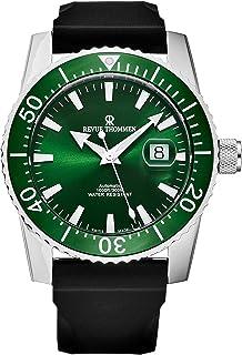 Revue Thommen - 17030.2534 'Diver' Reloj automático suizo con correa de goma de esfera verde para hombre