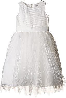 Us Angels - Dot Netting Sleeveless Dress w/ Tiered Hanky Hem Skirt (Little Kids)
