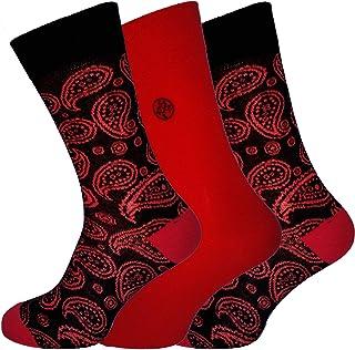 Socks Uwear Mens Bamboo Range Business Design Multipack Socks - Paisley Red - 7-11