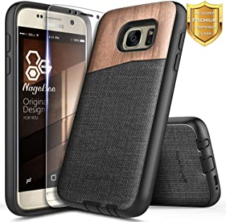 Galaxy S6 Case with Tempered Glass Screen Protector, NageBee Premium [Natural Wood] Canvas Fabrics Heavy Duty Shockproof Hybrid Defender Rugged Durable Case for Samsung Galaxy S6 -Wood
