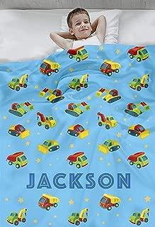 Personalized Custom Cozy Plush Fleece Blanket - Design Your Name Blanket - Customizable Throw Keepsake Blanket Babies, Boys, Girls, Toddlers Bedding (Construction Vehicles Blue)