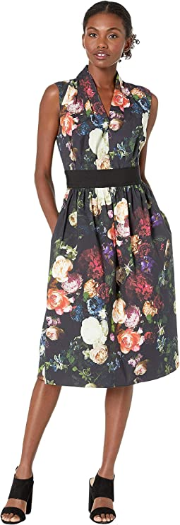 Printed Poplin Gathered Waist Dress