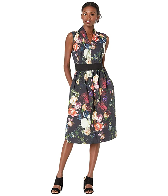 Adam Lippes  Printed Poplin Gathered Waist Dress (Multi Floral) Womens Dress