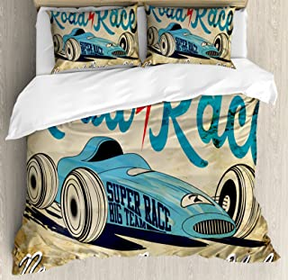 Ambesonne Cars Duvet Cover Set, New York Racing Club Race Car from Twenties Road Race Team Old School Cool Design, Decorative 3 Piece Bedding Set with 2 Pillow Shams, King Size, Brown Aqua