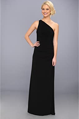 One Shoulder Sleeveless Gown w/ Side Sequins