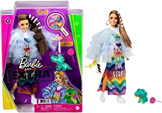 Barbie Extra Doll #9 in Blue Ruffled Jacket with Pet Crocodile, Long Brunette Hair with Bling Hair Clips, Layered Outfit &...