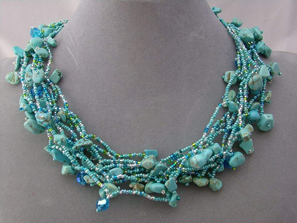 Chunky Turquoise Czech Glass Bead Stone Necklace For Women Magnetic Fashion Jewelry NEW