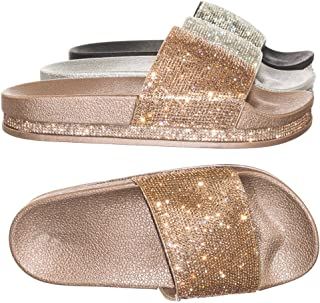 Glitter Slide in PVC Molded Footbed Flatform Sandal Slippers