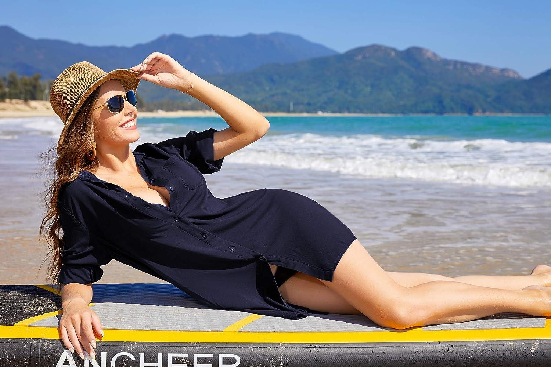 SHESHOW Women's Beach Cover Up Long Sleeve Button Down Sleep Shirt Dress Swimsuit Covers