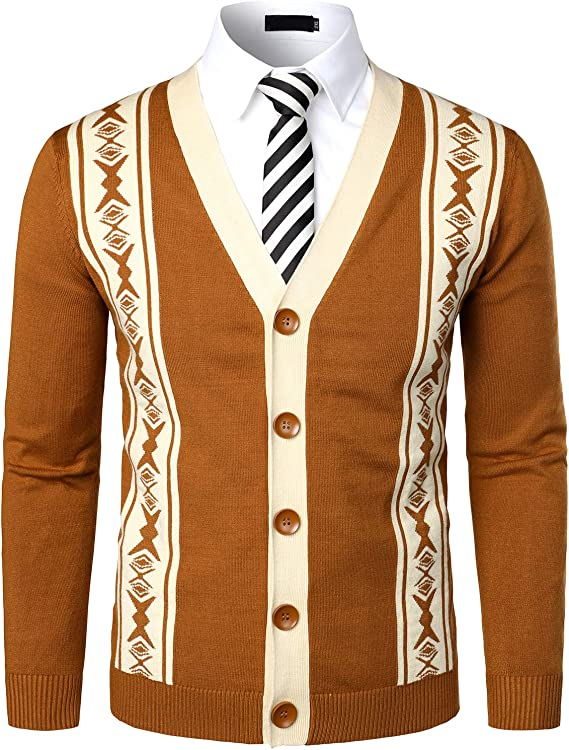 Men's Vintage Sweaters, Retro Jumpers 1920s to 1980s VATPAVE Mens V-Neck Slim Fit Cardigan Sweater Pattened Button Down Casual Knitted Sweater $42.99 AT vintagedancer.com