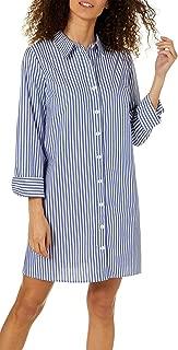 Women's Petite Long Sleeves Button Front Stripe Dress