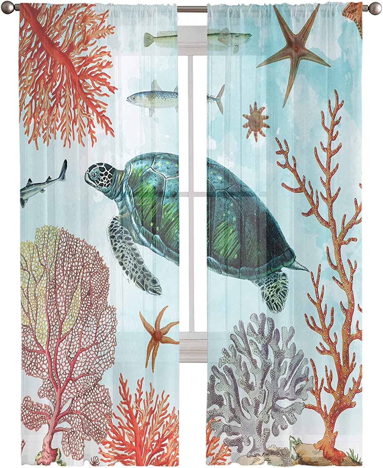 Kitchen 5 ☆ popular Semi Sheer Window Curtain specialty shop Inches Turtles 96 Long Panels