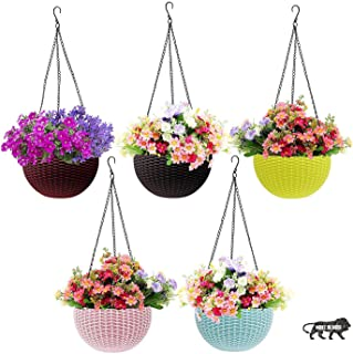 Go Hooked Plastic Hanging Pot, Multicolour, Pot Diameter -7.1 Inch, Pot Height -4.8 Inch, Pot Thickness -3 mm, Chain Lengt...
