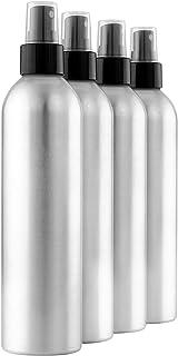 Cornucopia Brands 8-Ounce Aluminum Fine Mist Spray Bottles (4-Pack); Large Metal Atomizer Bottles Hold 8-10oz