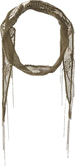 Chan Luu Chiffon Floral Embroidered Short Skinny Scarf