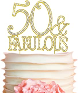 50 Cake Topper - Premium Gold Metal - 50 and Fabulous - 50th Birthday Party Sparkly Rhinestone Decoration M...