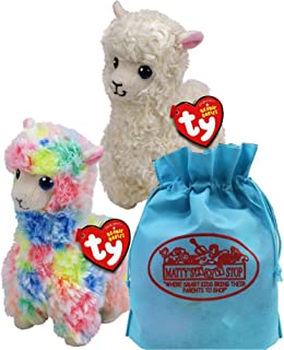 Ty Beanie Babies Llamas Lily (White) & Lola (Multi-Color) Gift Set Bundle with Bonus Matty's Toy Stop Storage Bag - 2 Pack