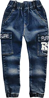 Kidscool Space Girls Boys Big Leg Pockets Elastic Leg Opening Look Slim Fashion Jeans