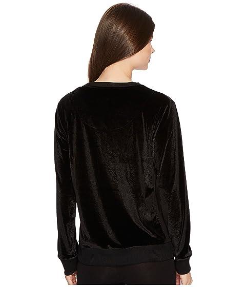 Karan Velour Donna Long Sleeve Top 1O5Xwd