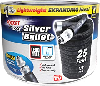Pocket Hose Original Silver Bullet Lightweight Water Hose by BulbHead - Expandable Garden Hose That Grows with Lead-Free Connectors - Safe Drinking Water Hose – Kink-Resistant & Stores Easily! (25 Ft)