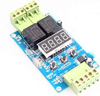 NOYITO 2-Channel Programmable Time Relay Module Dual Relays Triggered In turn or individually 2-Channel 0-99.9V Voltage Detection Control Board Cyclic Timing On Off (24V)