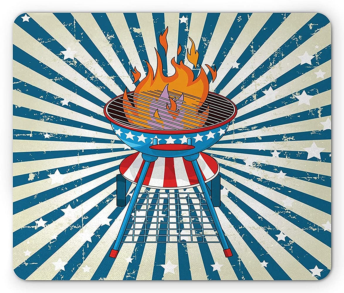 BBQ Party Mouse Pad, Patriotic Starburst Stripes and Old Glory Themed Grill American, Standard Size Rectangle Non-Slip Rubber Mousepad, Vermilion Blue and Eggshell