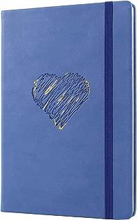 ElegantRuledNotebooks/Journal-EEGO PremiumA5PULeatherHardCoverNotebook-ThickPaper 200 Pages 180°Lay-Flat ElasticClosure 2RibbonBookmark InnerPocket Sticker (Blue)