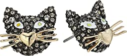 Betsey Johnson - Gold and Hematite Cat Stud Earrings