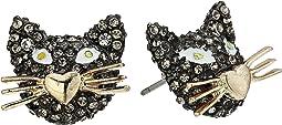 Betsey Johnson - Gold and Hematite Cat Stud Earrings