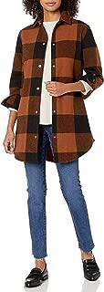 Women's Junior Eldridge Buffalo Plaid Coat Outerwear, Cognac