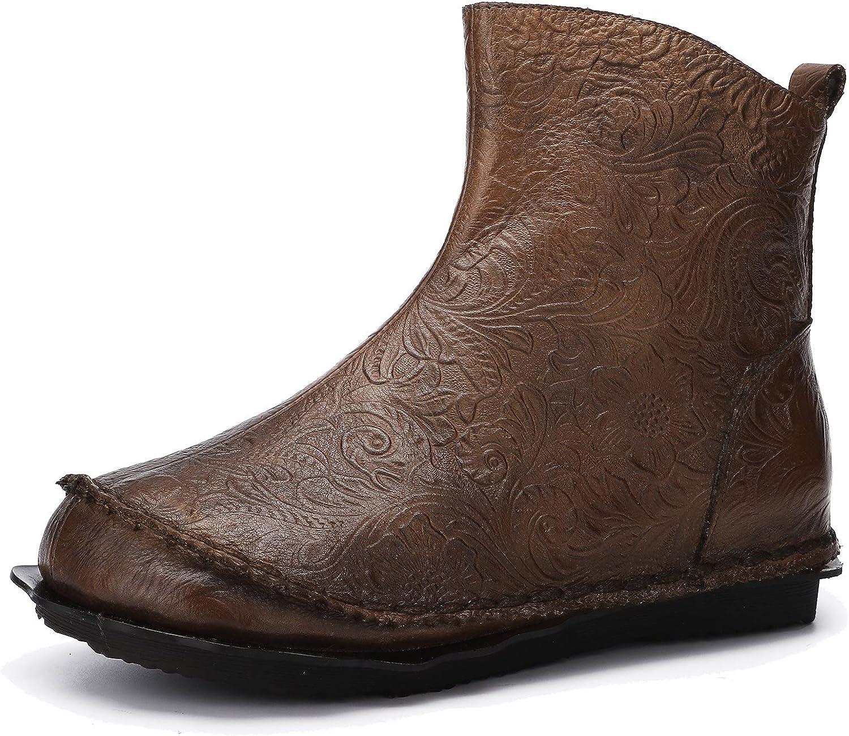 Damen Bequeme Flache Stiefeletten mit weicher Sohle Vintage Mokassin Stiefel aus echtem Leder Freizeitschuhe im Herbst und Winter