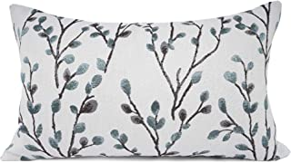 Best YOUR SMILE Classical Embroidery Jacquard Farmhouse Oblong Rectangle Chenille Teal Leaf Decorative Throw Pillow Case,12x20 inch Review