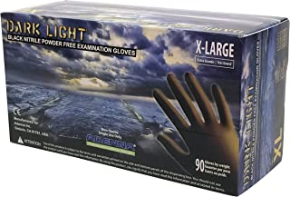 Adenna DLG678 Dark Light 9 mil Nitrile Powder Free Exam Gloves (Black, X-Large) Box of 90