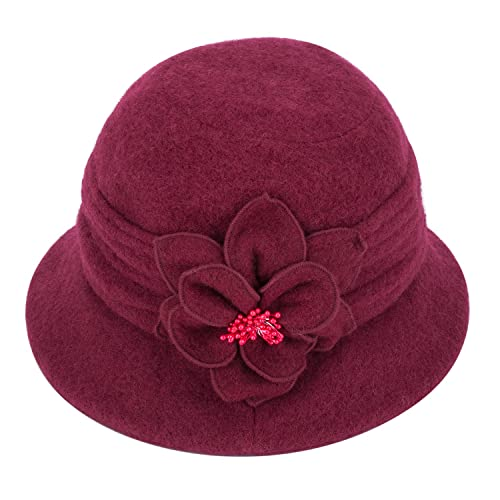 d722950d200 Womens Gatsby 1920s Winter Wool Cap Beret Beanie Cloche Bucket Hat A299