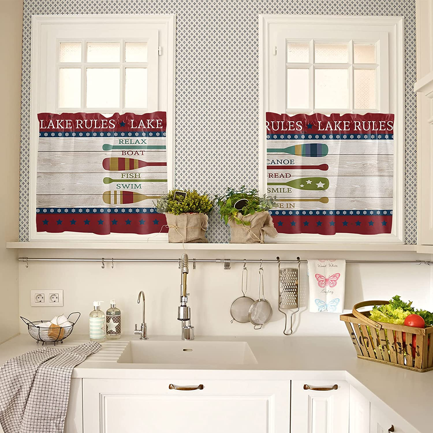 Wood Grain Tour The Lake Paddle in Summer Kitchen Curtains 24 In