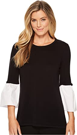Crew Neck w/ Poplin Flare Sleeve Sweater