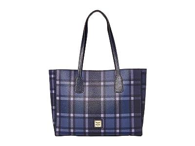 Dooney & Bourke Graham Plaid Ashton Tote (Blue/Marine Trim) Handbags