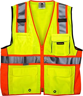 TR Industrial TR55-3M-M Class 2 3M Safety Vest with Pockets and Zipper, Medium